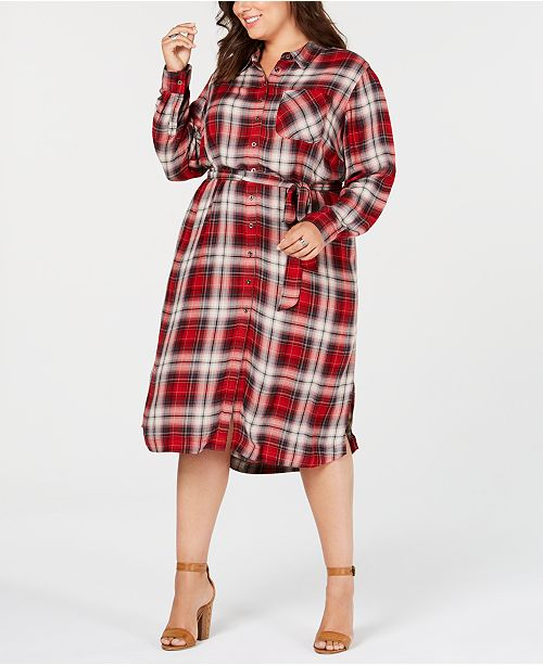 Trendy Plus Size Plaid Shirtdress