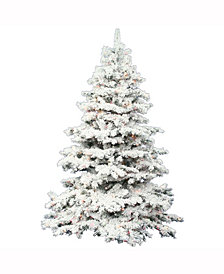 7.5' Flocked Alaskan Pine Artificial Christmas Tree with 900 Clear Lights