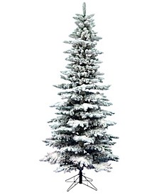 6.5' Flocked Utica Fir Slim Artificial Christmas Tree Unlit