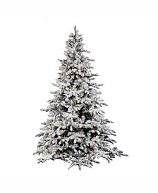 9' Flocked Utica Fir Artificial Christmas Tree with 1200 Multi-Colored LED Lights