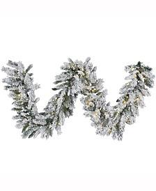 Vickerman 9' Snow Ridge Artificial Christmas Garland with 100 Warm White LED Lights