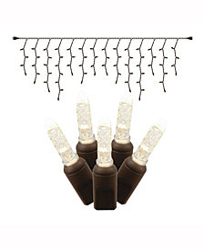 70 Warm White Twinkle M5 LED Icicle Light on Brown Wire, 9' Christmas Light Strand
