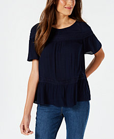 John Paul Richard Petite Textured Crochet-Trim Top