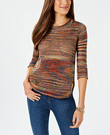 John Paul Richard Petite Pointelle-Knit Sweater