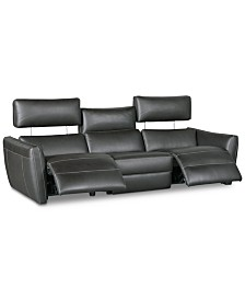 """CLOSEOUT! Fanna 96"""" 3-Pc. Leather Sofa Sectional with 2 Power Recliners and Articulating Headrest, Created for Macy's"""