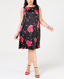 Betsey Johnson Plus Size Floral Printed Shift Dress