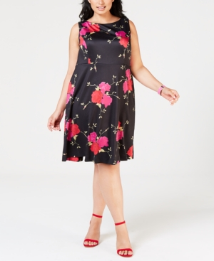 Betsey Johnson Plus Size Floral Printed Fit & Flare Dress