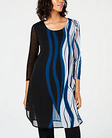 Alfani Printed Mesh Tunic, Created for Macy's