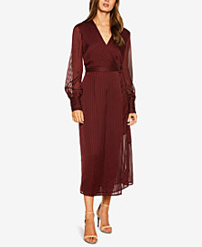 Bardot Sheer-Stripe Wrap Dress