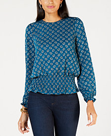 MICHAEL Michael Kors Tie-Back Smocked-Hem Top