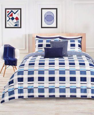 Lacoste Vars Cotton Blue 3-Pc. Full/Queen Duvet Cover Set