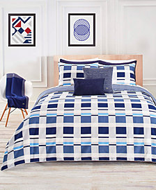 Lacoste Vars Cotton Blue 2-Pc. Twin/Twin XL Duvet Cover Set