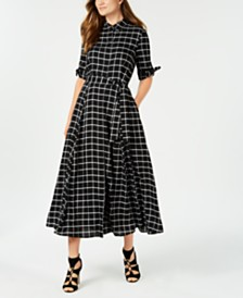 Calvin Klein Plaid Maxi Shirtdress