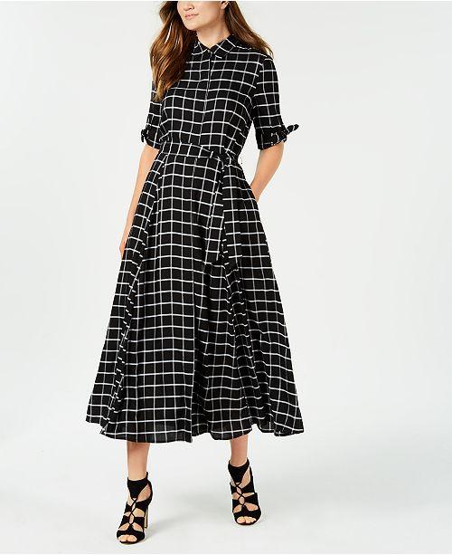 Calvin Klein Plaid Maxi Shirtdress