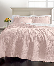 Martha Stewart Collection Linen-Cotton Ruffle King Quilt, Created for Macy's