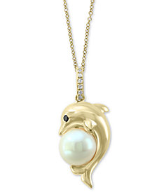 "EFFY® Cultured Freshwater Pearl (7-1/2mm) & Diamond Accent Dolphin 18"" Pendant Necklace in 14k Gold"
