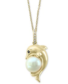 """EFFY® Cultured Freshwater Pearl (7-1/2mm) & Diamond Accent Dolphin 18"""" Pendant Necklace in 14k Gold"""