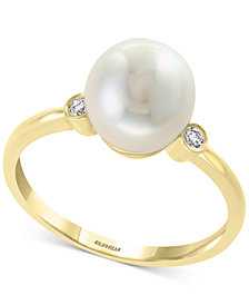 EFFY® Cultured Freshwater Pearl (8mm) & Diamond Accent Ring in 14k Gold