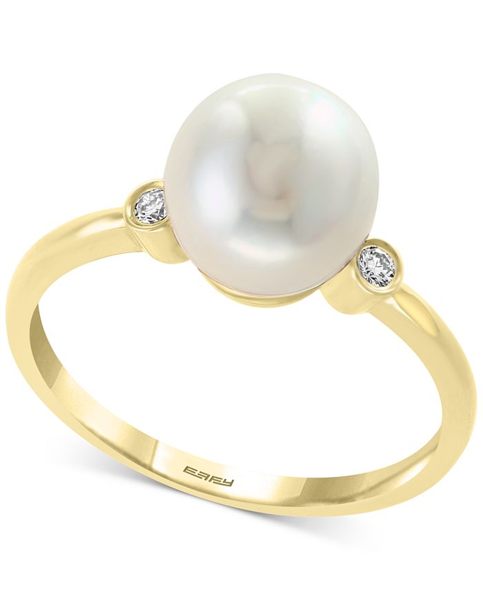 EFFY Collection - Cultured Freshwater Pearl (8mm) & Diamond Accent Ring in 14k Gold
