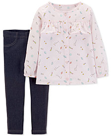 Carter's Toddler Girls 2-Pc. Galaxy-Print Tunic & Denim Leggings Set