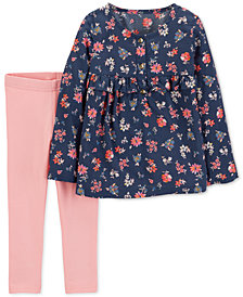 Carter's Toddler Girls 2-Pc. Floral-Print Tunic & Leggings Set