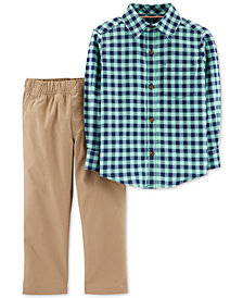 Carter's Toddler Boys 2-Pc. Plaid Cotton Shirt & Khaki Pants Set