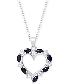 "Ruby (2-1/10 ct. t.w.) & White Topaz (3/4 ct. t.w.) Heart 18"" Pendant Necklace in Sterling Silver, (Also in Sapphire)"