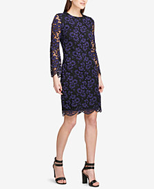 DKNY Long-Sleeve Lace Sheath Dress, Created for Macy's