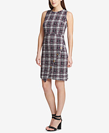 DKNY Asymmetrical Tweed Sheath Dress, Created for Macy's