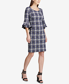 DKNY Plaid Tweed Bell-Sleeve Dress, Created for Macy's