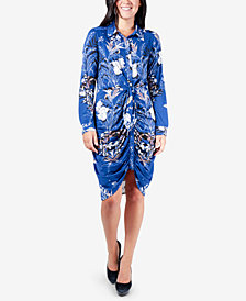 NY Collection Ruched Tie-Front Dress