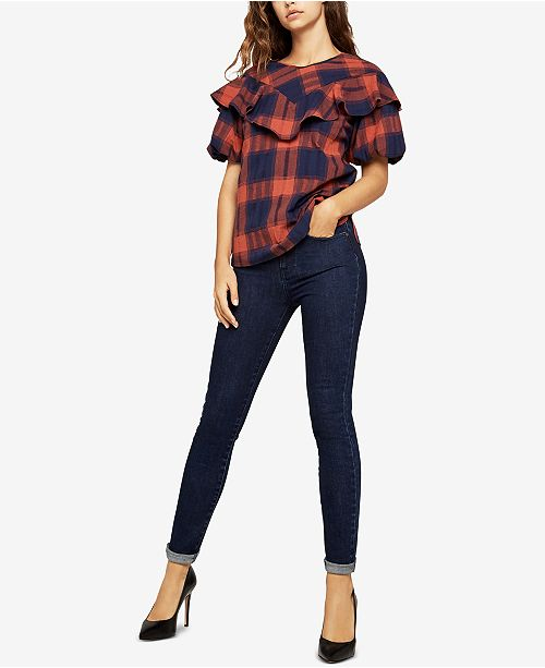 Top BCBGeneration Sleeve COMBO Plaid Bubble NAVY rqZqxwtRO