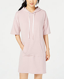 Material Girl Juniors' Short-Sleeve Hoodie Dress, Created for Macy's
