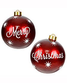 "26"" Decorative Red Ornaments featuring the words Merry Christmas"