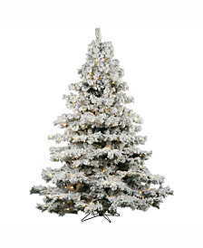 9' Flocked Alaskan Pine Artificial Christmas Tree with 1200 Warm White LED Lights