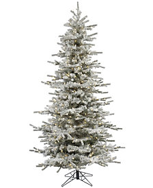 Vickerman 4.5' Flocked Sierra Fir Slim Artificial Christmas Tree with 250 Warm White LED Lights
