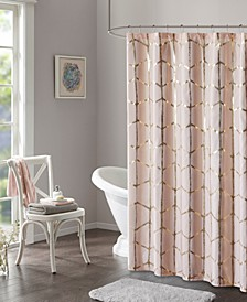 "Raina 72"" x 72"" Printed Metallic Shower Curtain"