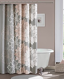 "Lola 72"" x 72"" 100% Cotton Floral Printed Shower Curtain"