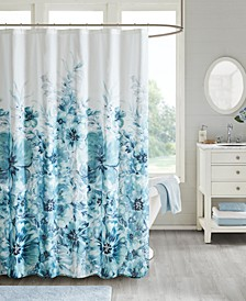 "Enza 72"" x 72"" Floral 100% Cotton Printed Shower Curtain"