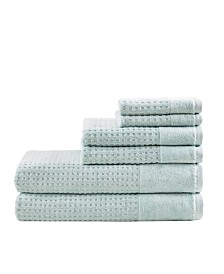 Madison Park Spa Waffle Jacquard 600 GSM Combed Cotton 6-Pc. Towel Set