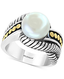EFFY® Cultured Freshwater Pearl (10mm) Ring in Sterling Silver & 18k Gold