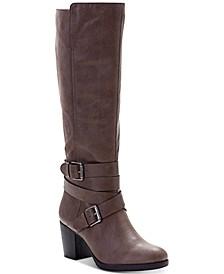 Jomaris Block-Heel Wide-Calf Boots, Created for Macy's