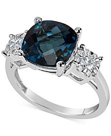 London Blue Topaz (5 ct. t.w.) & Diamond (1/3 ct. t.w.) Ring in 14k White Gold