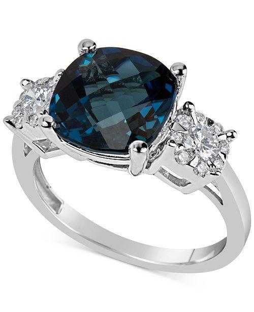 Macy's London Blue Topaz (5 ct. t.w.) & Diamond (1/3 ct. t.w.) Ring in 14k White Gold
