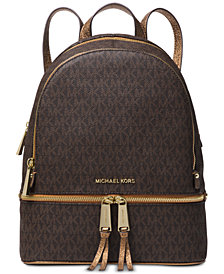 Michael Kors Rhea Zip Metallic Signature Backpack