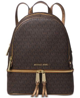 michael kors rhea zip metallic signature backpack handbags rh macys com