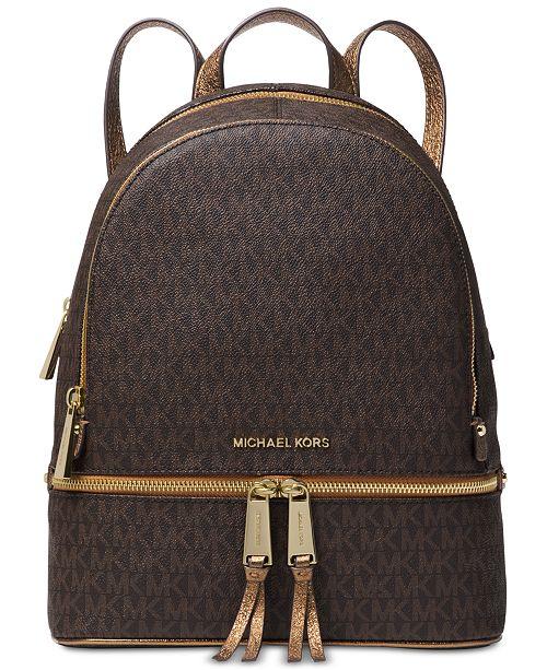 4d4b48965114 Michael Kors Rhea Zip Metallic Signature Backpack & Reviews ...