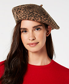 I.N.C. Leopard-Print Wool Beret, Created for Macy's
