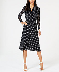 Anne Klein Dot-Print Belted Shirtdress