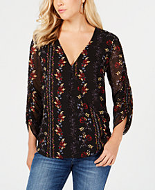 GUESS Printed Ruched-Sleeve Blouse